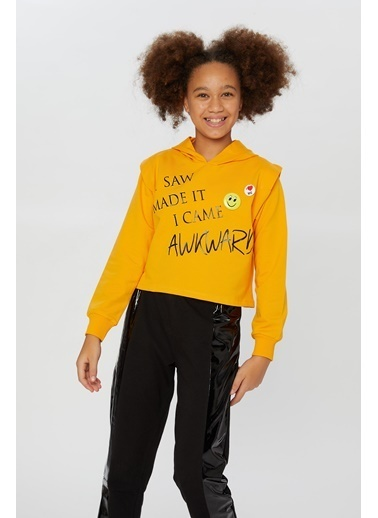 Little Star Little Star Kız Çocuk Smile Broşlu Sweatshirt Oranj